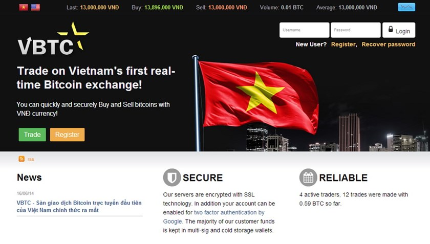 The homepage of VBTC, the first Bitcoin exchange in Vietnam that was launched July 9, 2014