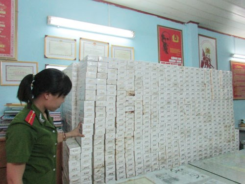 Cigarrettes that Ho Chi Minh City police seized from smuggling boats on August 20, 2014. Photo: Le Cam
