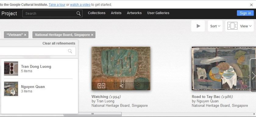 A page on Google Art Project introduces Vietnamese paintings via Singapore's National Heritage Board as Vietnam has not digitized its art works. Photo: Minh Ngoc