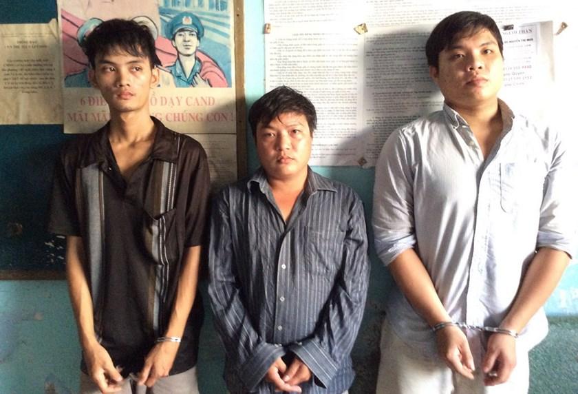 Members of a break-in gang who used a genius lock-picker to steal from households all over Ho Chi Minh City in early August 2014. Photo: Nguyen Bao
