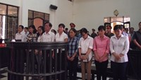 Nine executives and Vietinbank employees being tried in Tra Vinh Province on October 2, 2014. Photo: Q.D.