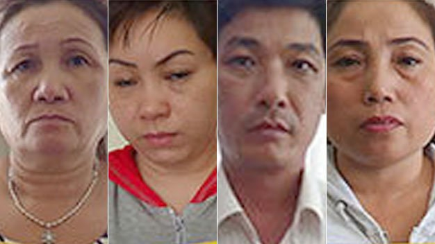 Four Vietnamese arrested October 22, 2014 for organizing a ring to traffic Vietnamese women as to wife-seeking men in China and South Korea. Photo credit: Tuoi Tre