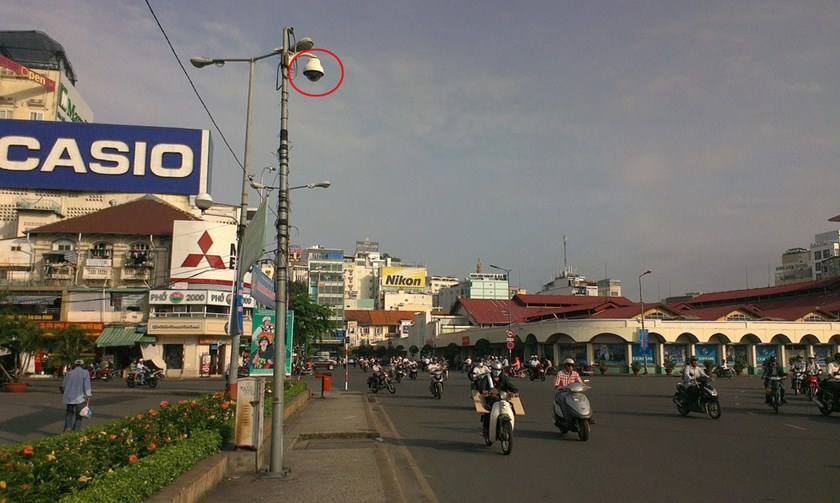 A street camera (circled) overlooks September 23rd Park outside Ben Thanh market as part of Ho Chi Minh City's $12.7 million security project. Photo: Thuy Vi