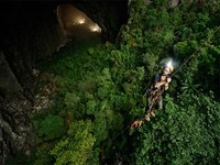 An explorer repels down into Son Doong cave in Quang Binh Province. Photo credit: quangbinh.gov.vn/Vietnam News Agency