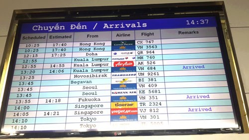 A flight information board at Tan Son Nhat Airport in Ho Chi Minh City during an air traffic control tower blackout on November 20, 2014. Photo: Mai Vong