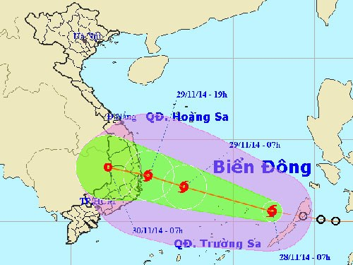 A map provided by the National Center for Hydrometereological Forecasting shows the movement of Typhoon Sinlaku toward Vietnam's south central coast.