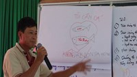 A chart showing how the Don Sahong hydropower dam will impact fish migration being explained to local residents in An Giang Province on November 20, 2014. Photo credit: Vietnam Rivers Network