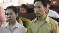 Ka' Thuy Linh and her husband Dai Chang Sheng being tried in Tay Ninh Province on December 2, 2014. The couple were sentenced to three years in jail each for helping sell Vietnamese brides to Chinese nationals. Photo: Giang Phuong
