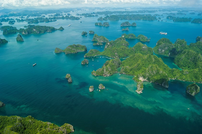 Ha Long Bay seen from a Hai Au Aviation seaplane. Photo credit: Hai Au Aviation