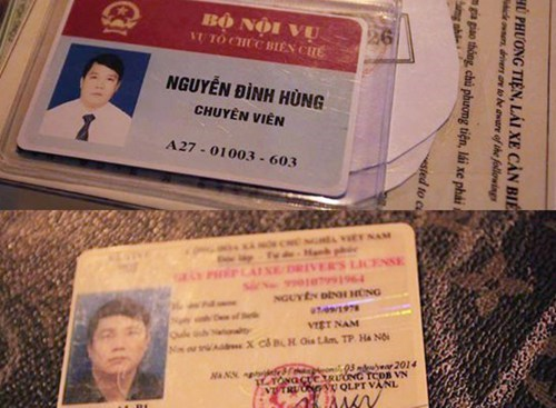 The government ID and driver's license of Nguyen Dinh Hung, a Ministry of Interior consultant who insulted a traffic cop after drunkenly ploughing into a motorbike in Hanoi on December 11, 2014. Photo: Nam Anh