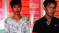 (L-R) Dang Van Trung,  25, and Nguyen Duy Vinh, 26, were arrested in Hoi An on December 3, 2014 for robbing from locals and tourists. Photo: Hoang Son