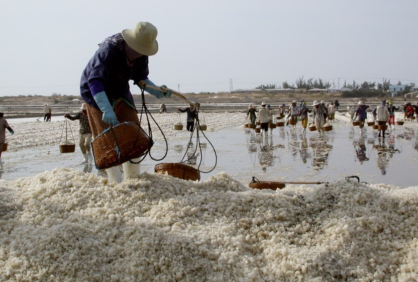 A salt farmer in central Vietnam. Photo: Dao Ngoc Thach