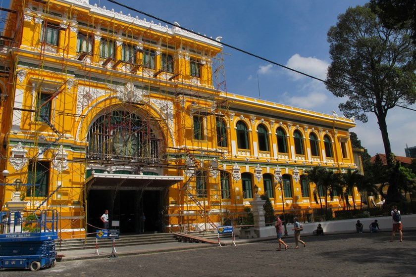 The Saigon Central Post Office with the new paint job. Photo: Cong Son