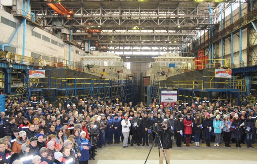 A press release photo of a launching ceremony at Russian shipyard Zelenodolsk shows two Vietnamese Navy frigates in the making. Photo credit: BMPD