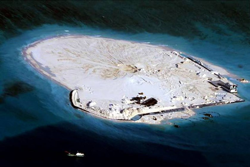 An alleged Chinese land reclamation project on what is internationally recognized as the Johnson Reef in the East Sea, internationally known as the South China Sea. Photo credit: AFP/JIJI