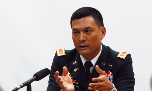 Major Ly V. Thang speaks at a press conference on March 6, 2015. Photo credit: VnExpress
