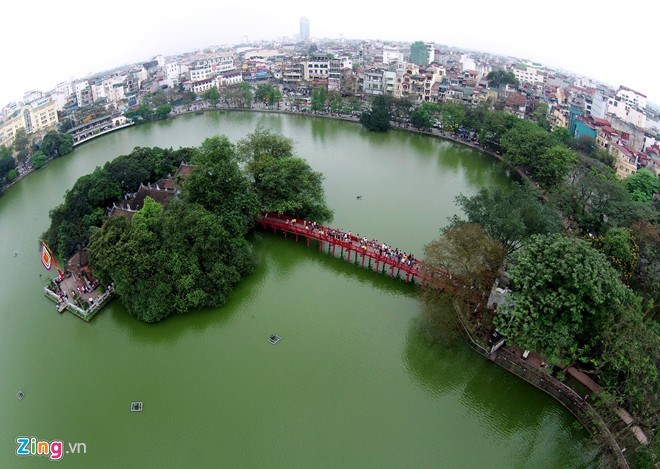 The Sword Lake, a Hanoi icon, viewed from above. Photo credit: Zing