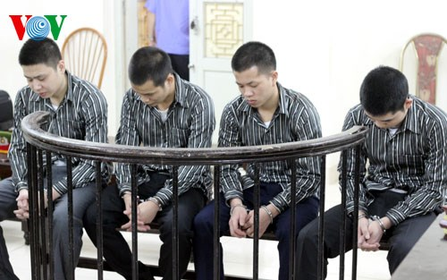 The four young men are sentenced to seven and eight years in jail at a Hanoi court for trafficking a girl to China. Photo credit: VOV