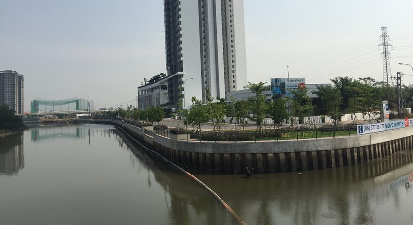 Part of a housing project that encroaches the Ca Cam Canal in District 7, Ho Chi Minh City. Photo: Dinh Son