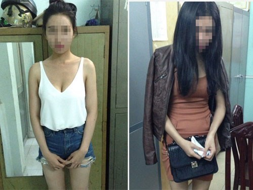 Two of the models arrested for organizing a fancy sex racket in Ho Chi Minh City. Photo: Nguyen Bao