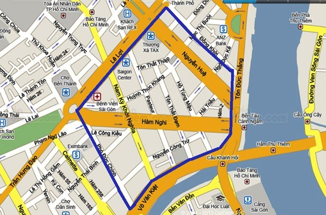 The blue strip marks the area to be closed to traffic for the firework show this April 30 night
