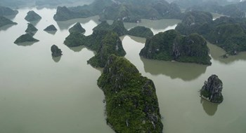 Ha Long Bay as seen from a seaplane. Photo credit: Reuters