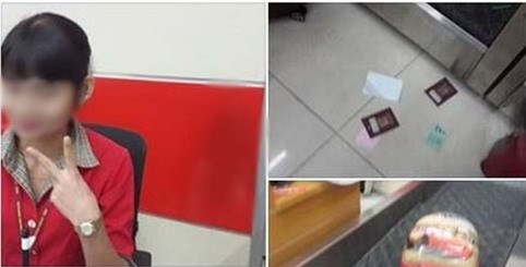 Photos from the Facebook post of the passenger showing passports on the ground and the check-in woman posing with two fingers. Photo credit: kienthuc.net.vn