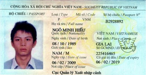 Ngo Minh Hieu's passport. File photo