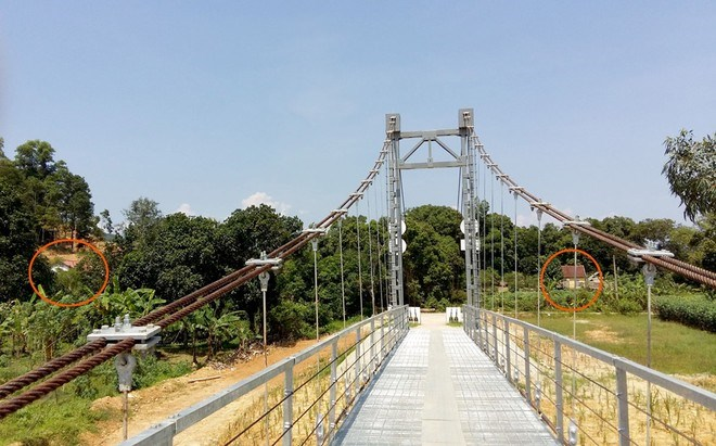 A new suspension bridge in Ha Tinh Province is close to only two houses (circled). Photo credit: VnExpress