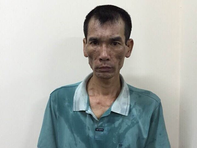 A photo from Hanoi police shows Nguyen Trung Luong, 42, who was arrested for trying to explode his house with his son inside on September 23.