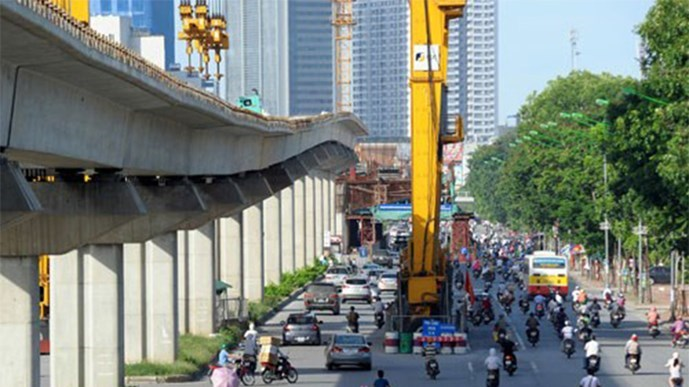 Hanoi's elevated railway under construction. Photo: Ngoc Thang