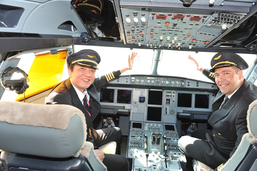 The pilots flying the new Vietjet aircraft to Ho Chi Minh City.