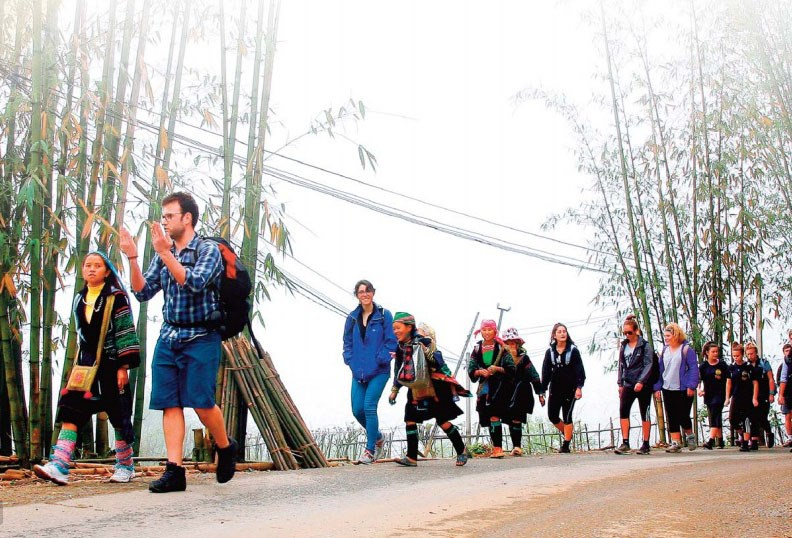 Foreign tourists in a trip to Vietnam's northern highlands. Photo credit: VNAT
