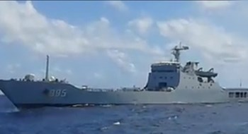 The Chinese warship that pointed guns at a Vietnamese supply vessel near the Spratly Islands on November 13, according to a photo provided by the Southern Vietnam Maritime Safety Corporation