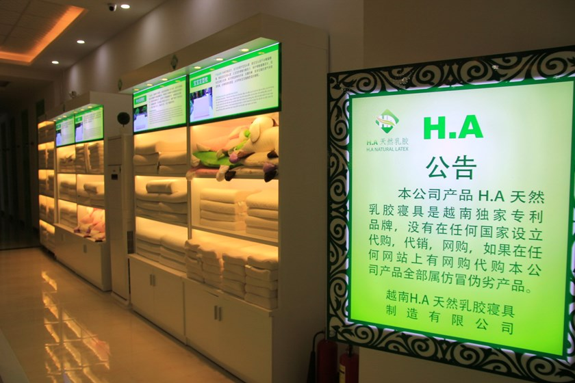 A photo taken December 23, 2015 shows a sign at H.A Natural Latex showroom in Da Nang using Chinese language only. Photo: Hoang Son