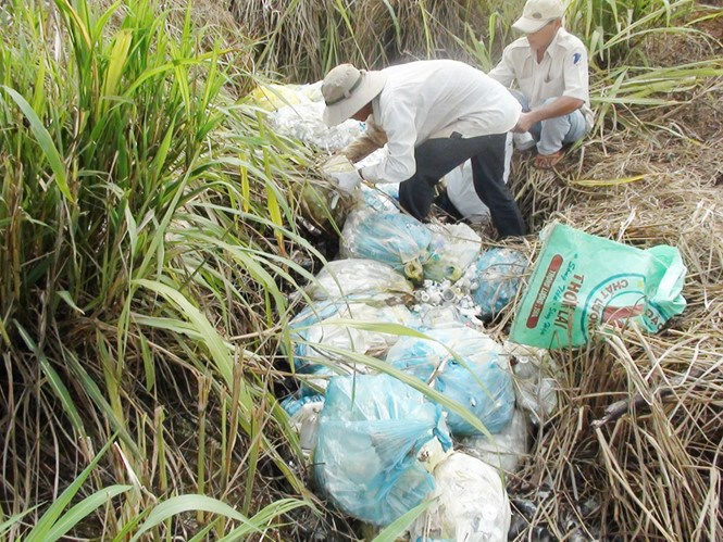 Medical waste dumped behind a hospital in Binh Phuoc Province. Photo: Van Tuyen