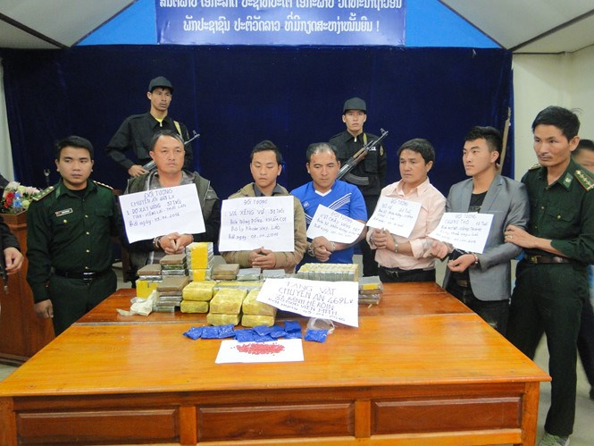A photo from Ha Tinh border guards show five men from Laos and Thailand who were arrested January 3 trying to smuggle heroin into Vietnam.