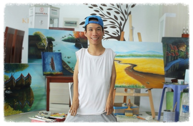 Le Minh Chau, an Agent Orange victim in Ho Chi Minh City, and his paintings. Photo credit: http://www.beyondthelinesfilm.com