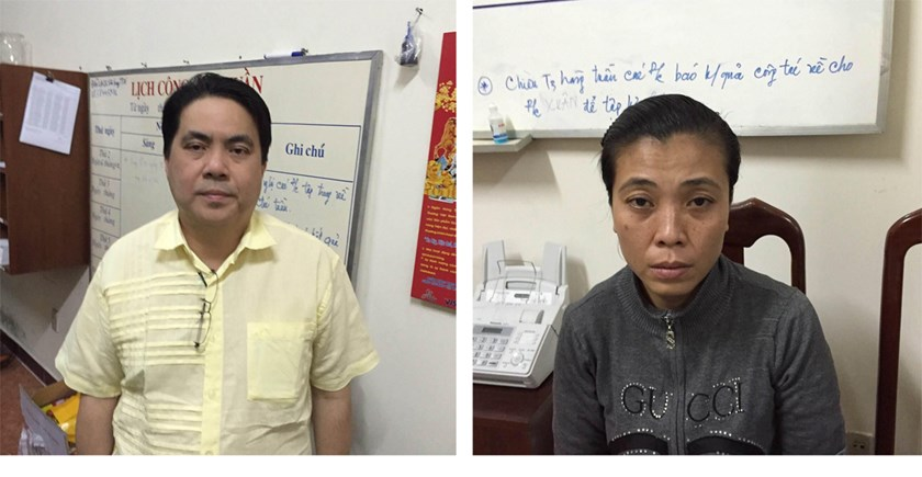 A Malaysian (L) and a Vietnamese arrested for a human trafficking scheme in April 2015. Photo: Ngoc Le
