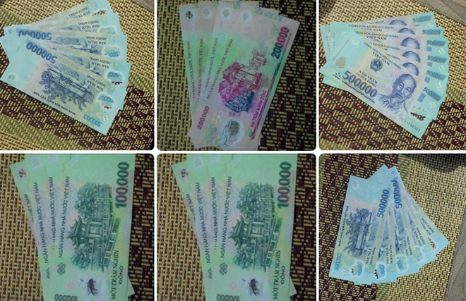 Notes a man advertised on Facebook as counterfeit cash for sale. Photo credit: Zing