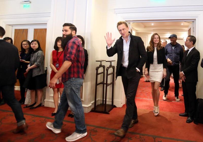 From L: Director Jordan Voght-Roberts, Tom Hiddleston, Brie Larson and Samuel L. Jackson arrive for a press conference of the new King Kong movie in Hanoi on February 21, 2016. Photo: Ngoc Thang