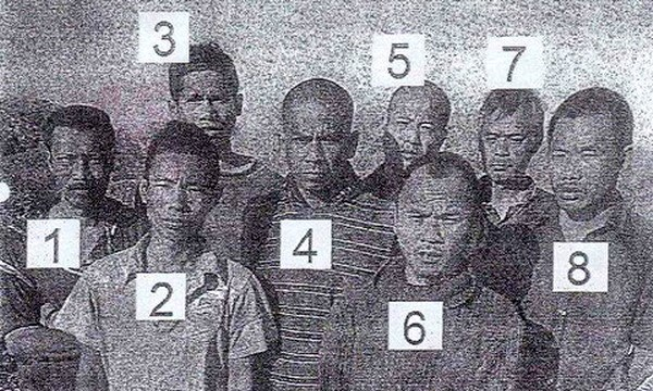 Vietnamese fishermen (1, 2 and 6) among the crew abducted by Somali pirates in Taiwan in 2012, according to a photo provided by one of the fishers' families