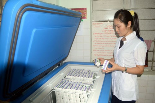 Quinvaxem vaccine at a storage in central Vietnam. Photo: Hien Cu