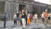 Foreign tourists at the former citadel in Hue. Photo: Bui Ngoc Long