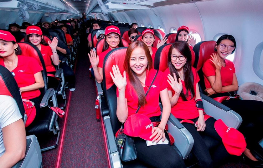 The Face Vietnam contestants on a Vietjet flight