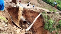 A landslide site in Yen Bai Province, where two people were killed in such incident. Photo: Son Pham/Tuoi Tre