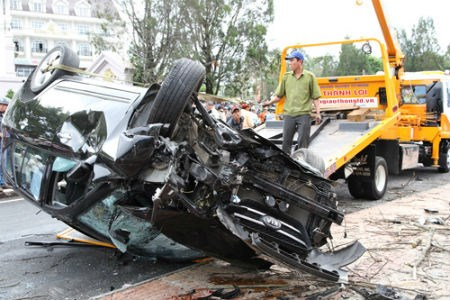The seven-seat SUV after the accident