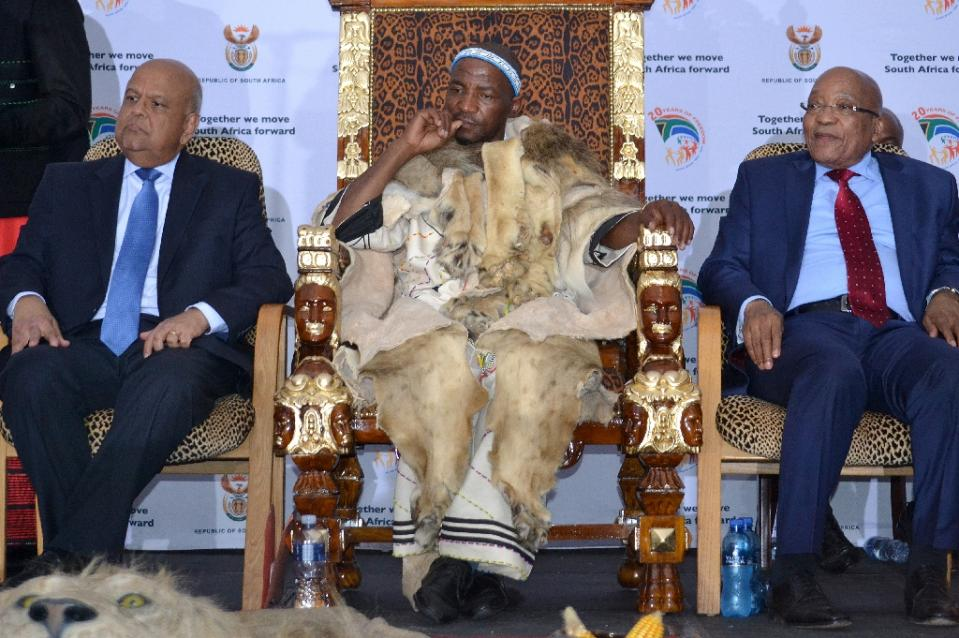 Lion skins and dancing at Xhosa king coronation in S.Africa