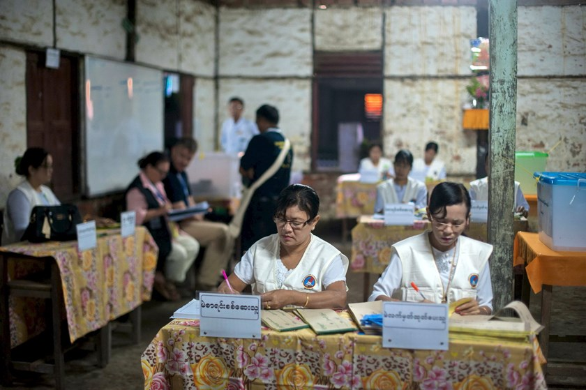 Voting underway in Myanmar's first free election for 25 ...