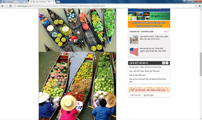 Vietnam official tourism websites promote local sights with photos of Thailand, Indonesia